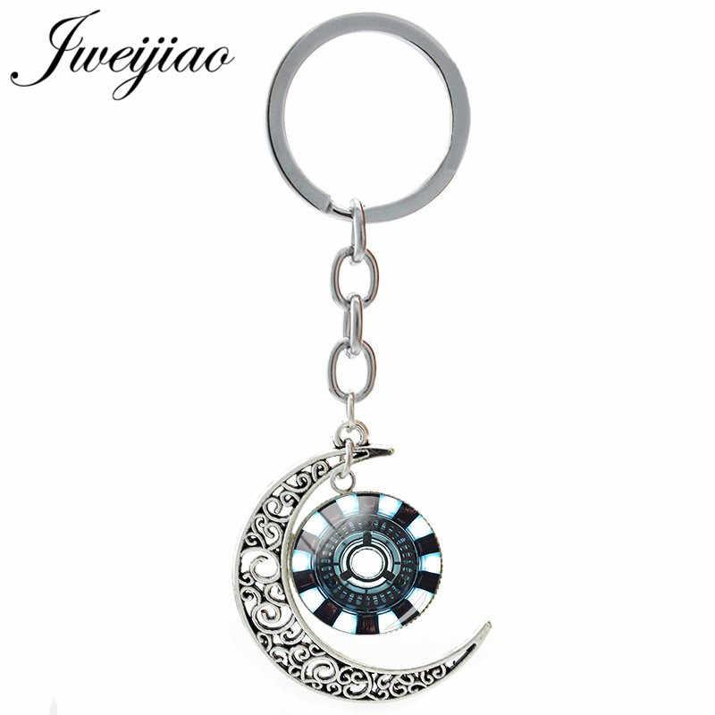 Jweijiao cúpula de vidro homem de ferro símbolo encantos chaveiro lua pingente chaveiros diy personalizado crianças saco acessórios im09