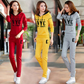 Gray Sportwear Hoodies Tracksuits Women Set Long Sleeve Cotton Full Pants Slim Fit Women Suit Two Pieces Set 2017 New