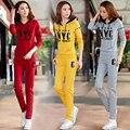 Gris Sportwear Hoodies Chándales de Las Mujeres Conjunto de Manga Larga de Algodón Pantalones Slim Fit Mujeres Traje de Dos Piezas Conjunto Completo 2017 Nuevo
