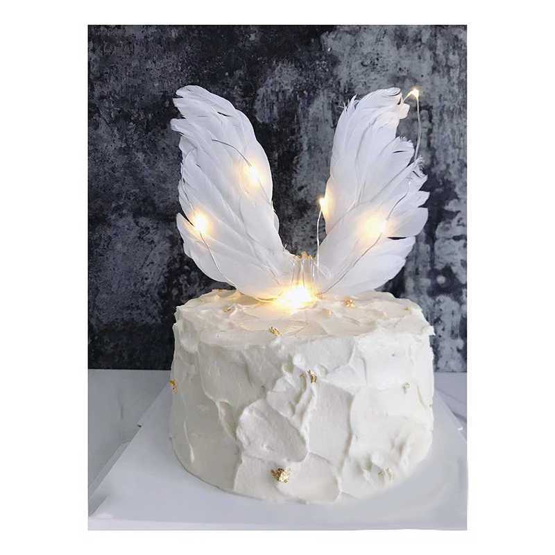 Swan Wedding Cake Topper Feather White Wing Cake Topper Decoration Mariage Valentines Day Party Supplies Baking Accessoires