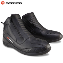 Scoyco MBT002 Moto Racing Leather Motorcycle Boots Shoes Motorbike Riding sport road SPEED professional botas Men Women Black