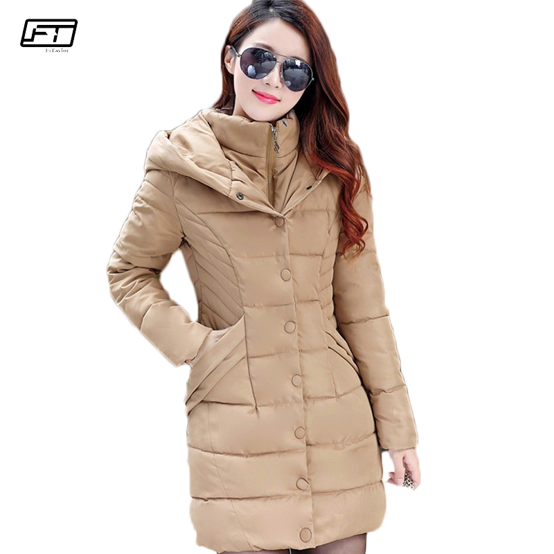 Fitaylor New Winter Jacket Women Cotton Padded Female Coat Thick Warm Long Paragraph Quilted Coats Plus Size Hooded   Parka   Mujer