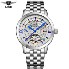 2017 LIGE Men's Luxury Brand sport Mechanical Watches Hollow Skeleton automatic watch Relogio Masculino Business Relojes Hombre