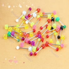 10pcs Dice Lip Ear Bone Bar Stud Chin Tongue Ring Body Piercing Jewelry T15