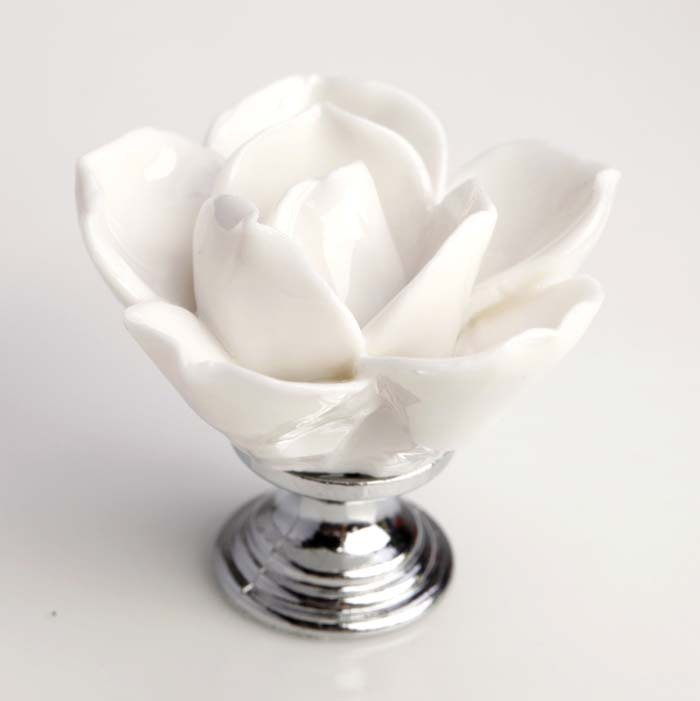 White Ceramic Handmade flower Knobs Lotus Floral Drawer Cabinet Pull Door Handle
