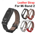 Leather Strap with Metal Frame For Xiaomi Mi Band 2 Strap for MiBand 2 Smart bracelet Xiao Mi Band Accessories