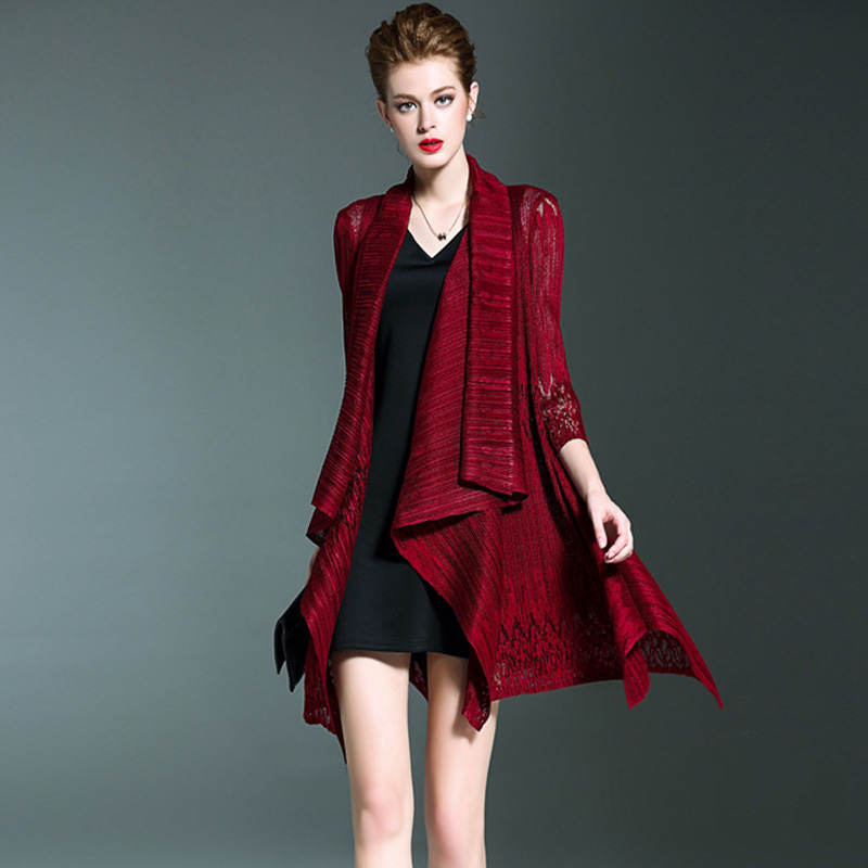 Issey Miyake Pleated 2019 Spring New Women Fashion Lace Hollow Out Thin   Trench   Coat Three Quarter Sleeve Open Stitch Long Shawl