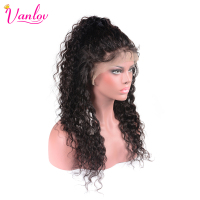 Vanlov Water Wave Lace Front Human Hair Wigs Water Wave Brazilian Non Remy Hair Wig With