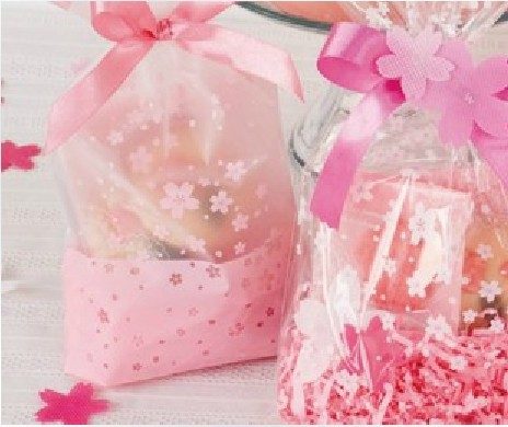 100pcs/lot Hot sale food packaging bags sweet peach pink bag sky cherry petals romantic  ...