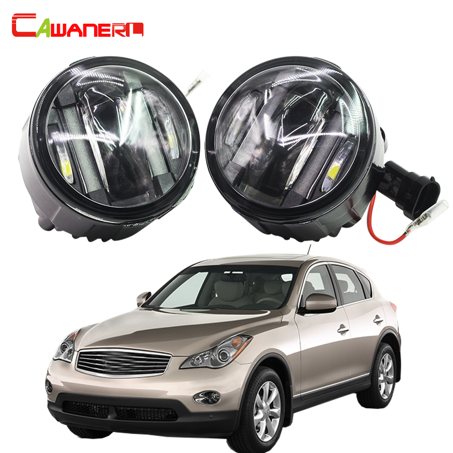 Cawanerl For Infiniti EX35 3.5L V6 2008-2012 Car Styling LED Left + Right Fog Light Daytime Running Lamp DRL 12V 2 Pieces cawanerl 2 pieces car styling led fog light daytime running lamp drl 12v for infiniti g37 sport 3 7l v6 gas 2011 2012 2013
