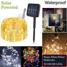Solar Powered Copper Wire Light Fairy String Christmas LED Light Outdoor Garden Solar Lamp Waterproof Holiday Wedding Decoration(China)
