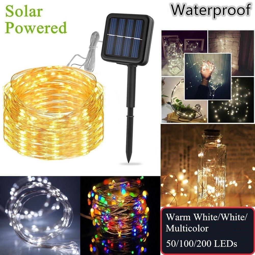 Christmas Solar Powered Copper String Lights Outdoor Fairy String LED Light Garden Solar Lamp Waterproof Holiday Wedding Decoration
