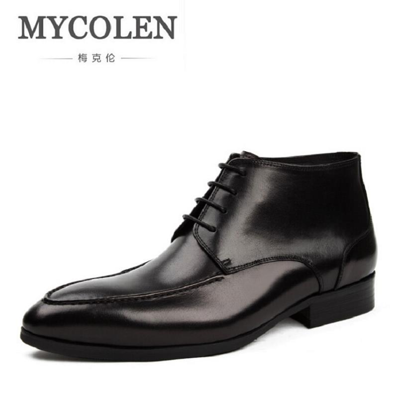 MYCOLEN Black Handmade Customized Men'S Leather Chelsea Boots Shoes New Arrival Lace Up Brown Brand Mens Boots laarzen dames customized new exclusive design handmade