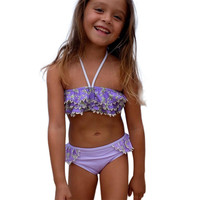 Toddler Kids Baby Girls Tankini Bikini Swimwear Swimsuit 2017 New Sexy Halter Floral Printed Ruffled Bathing