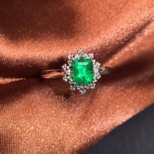 CQT Fine Jewelry G18k Rings Real Diamonds 18K Gold Natural Emerald 0.83ct Gemstones Female Wedding for women Ring