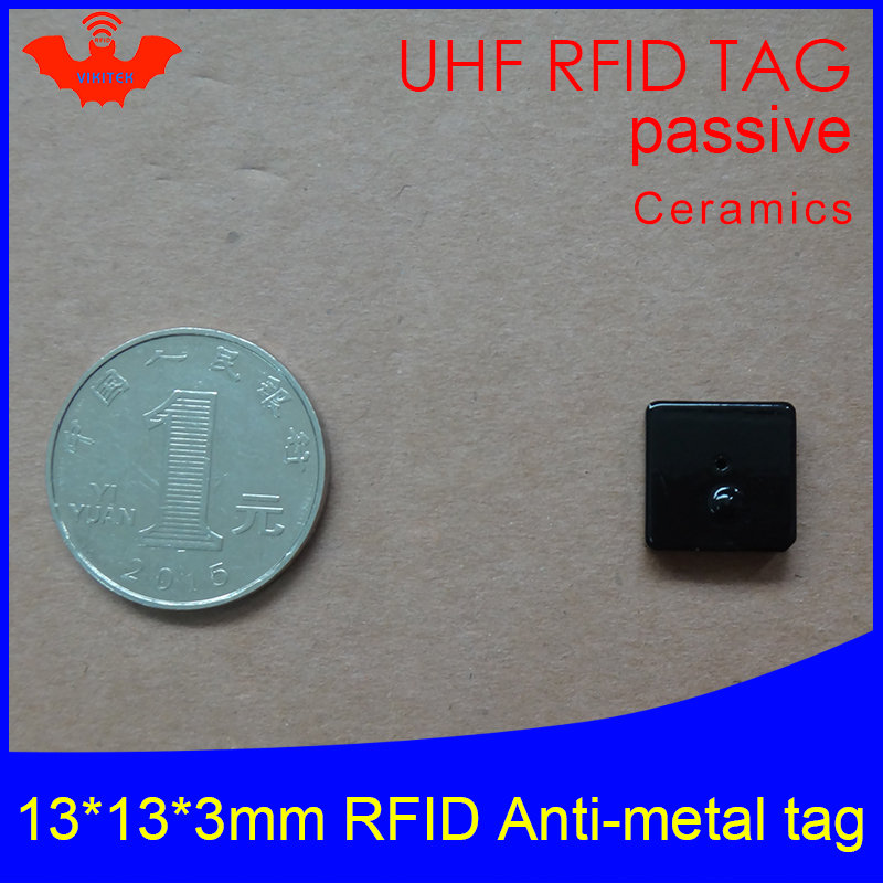 UHF RFID Anti Metal Tag 915mhz 868mhz Alien Higgs3 EPCC1G2 6C Tool 13*13*3mm Small Square Ceramics Smart Card Passive RFID Tags