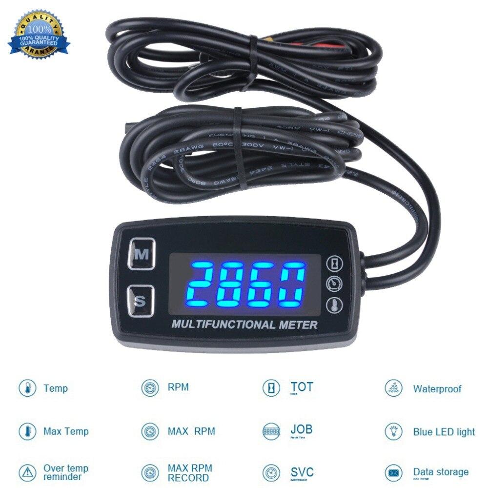 Tachymètre à affichage LED numérique Tach avec jauge de capteur de température pour moteurs 2/4 temps scies à chaîne tracteurs 035LT