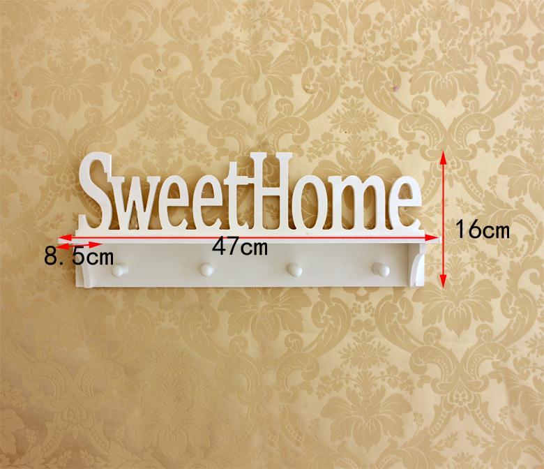 SweetHome White Wooden Hook Clapboard Shelf Wall Rack Home Decorative Furniture Wall Shelves For Living Room Holder Hanger Keys-in Storage Holders & ...