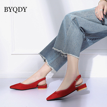 BYQDY Women Spring Autumn Pumps Ankle Strap Thick Heel Women Square Toe Low Heels Dress Worker Comfortable Women Shoes Size 40 недорого