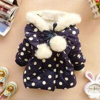 Brand New 2014 Autumn Winter Children Girls Outerwear Coat Red Dark Blue Polka Dot Bowknot Hoodies
