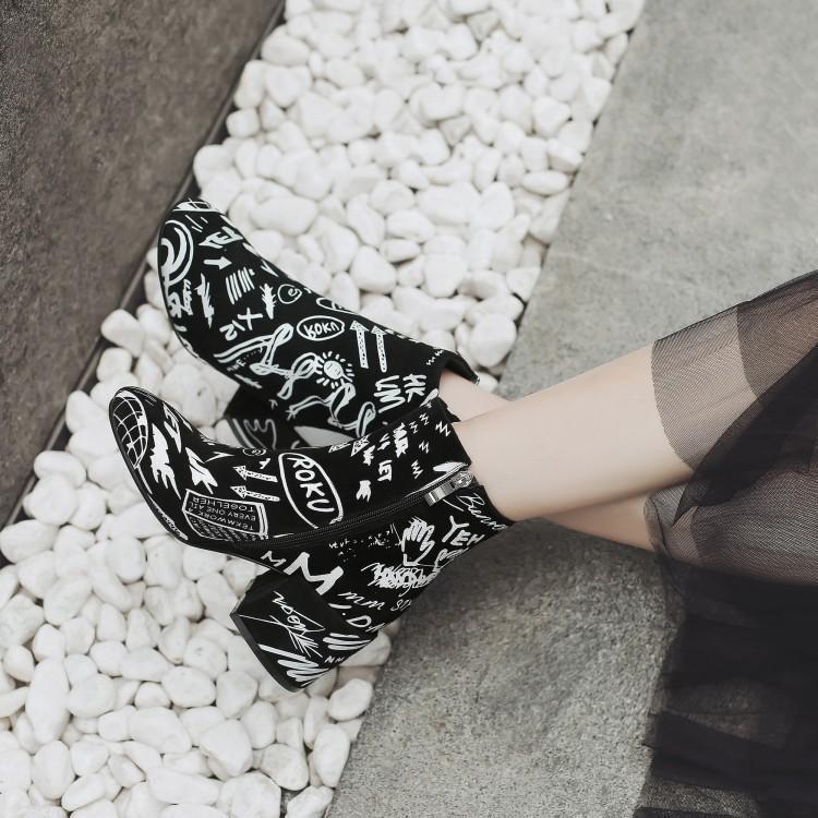 Negra Graffiti Moda Para Tacón Botas Impresión Mujer Las Medio De Del Pie Negro Blanco Con Invierno Redondo Dedo Tobillo Mujeres Gamuza Grueso Zapatos Zapatos YqzEFrw8Y