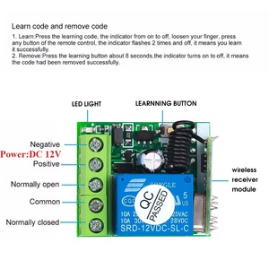 Image 5 - جديد 433Mhz التحكم عن بعد RF الارسال مع لاسلكي للتحكم عن بعد التبديل تيار مستمر 12 فولت 1CH التتابع وحدة الاستقبال