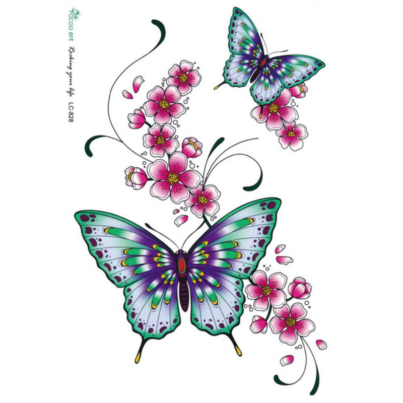 Waterproof Temporary Tatoo Sticker Color Small Fresh Flowers And Big Butterfly Tattoo Wholesale LC2828