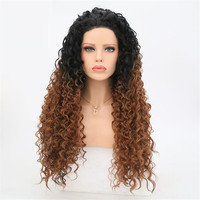 Rongduoyi Ombre Kinky Curly Synthetic Lace Front Wigs 150% Density Two Tone Color Heat Resistant Cosplay Wigs For Black Women