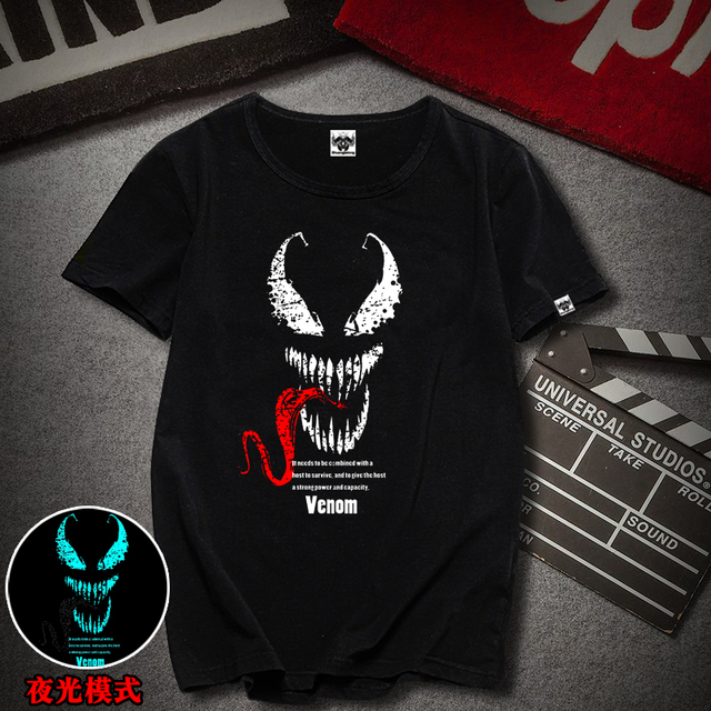 2019 Fashion Personalized Custom Tshirts Venom spiderman Printed Black T- Shirt Round Neck Short Sleeves Casual Cool Tops