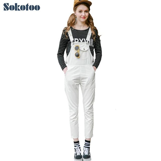 sokotoo women's casual plus large size white denim bib overalls
