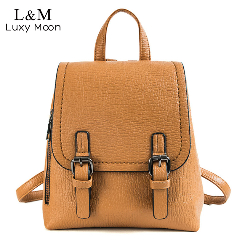 ceb211753e Women Leather Backpacks Female School bags For Teenager Girls Solid Backpack  Vintage Rucksack Mochilas Sac A Dos 2018 XA106H