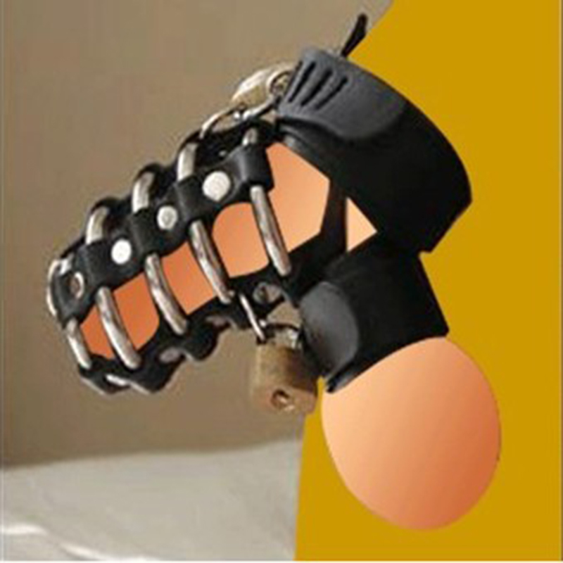 Leather Cock cage penis harness ball scrotum stretcher restraint bondage Fetish Male Chastity Device Adult sex game toys for men