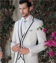 White/Ivory Wedding Suits For Men Black Edge Elegant Groom Formal Tuxedo Custom Made Party Prom Costume Homme Mariage 3PCS