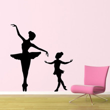Ballet Teacher And Student Silhouette Art Designed Wall Decals Home Girls Bedroom Sweet Dreamly Decor Vinyl Wall Stickers