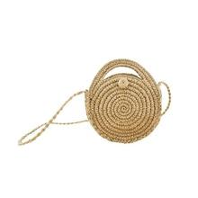 Women's Outdoor Crossbody straw Bag Fashion Round Paper rope Beach Travel Bag Female Summer mini Vintage Handmade