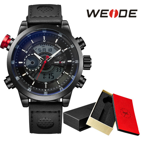 все цены на WEIDE Analog Quartz Watch Men Sport Watch Repeater Black LCD Display Leather Strap 3ATM Waterproof Mens Military Clock / WH3401
