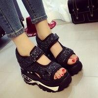 Sequins Bling Womens Platform Wedges Shiny Sport Sandals Casual Super High Heels Shoes Black Sliver