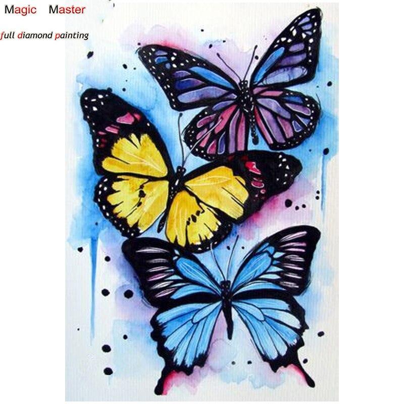 DIY Бабочка 5D квадратный home decor Алмаз Вышивка картина, вышитая бисером рукоделие Алмазная мозаика комплект FT2030