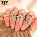 10Pcs/Set Ethnic Vintage Elephant Ring Set Carved Flower Bohemian Ring Silver Plated Wedding Rings Bague Femme Fashion Jewelry