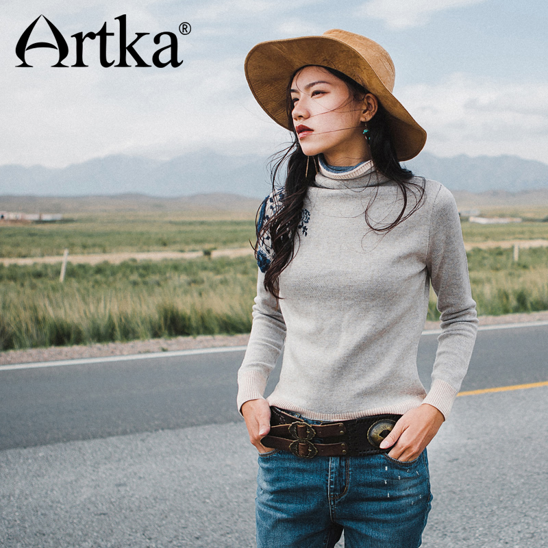 Artka Women S Turtleneck Pullover 2017 Autumn Sweater Women Ribbed Embroidery Sweater Knitted Pullover Elegant Sweater