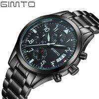 GIMTO Brand Top Luxury Full Steel Men Watches Men Business Quartz Watch Auto Date Waterproof Relogio