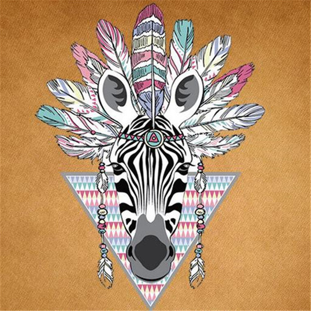 T shirt Women patch 25cm Indian zebra iron on patches for clothing transfer printing clothes for girls DIY street icon stickers