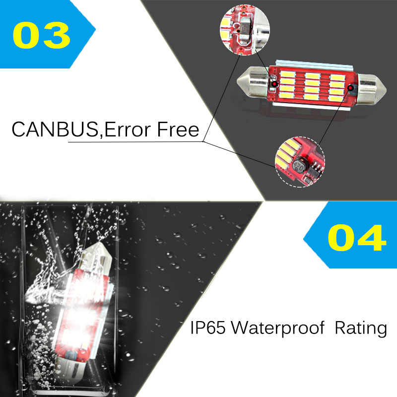 2 x New 36mm Licese Plat Nomor Light Bulb Canbus LED Untuk AUDI A2 A3 8L 8 P A4 B5 B6 A6 4B 4F A8 Q3 Q5 Q7 TT D2 C5 C6 C7 S2 S4