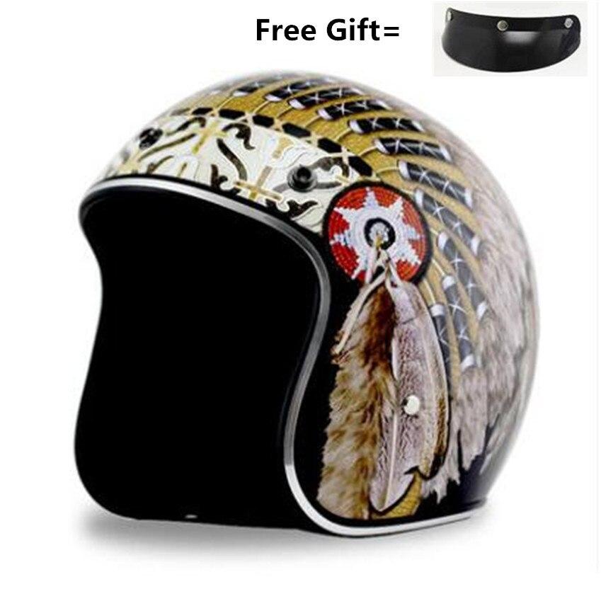 Double D boucle Vintage Style allemand Moto casque 3/4 ouvert visage casque quatre saisons Cruiser motard Moto casque lunettes masque
