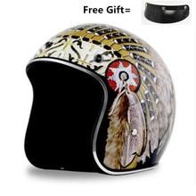 купить Double D buckle Vintage German Style Motorcycle Helmet 3/4 Open Face Helmet Four Seasons Cruiser Biker Moto Helmet Glasses Mask недорого