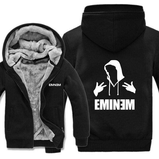 268629383 New Fashion Winter Man Zipper Hoodie Autumn Hip Pop Cool Men Hoodies Casual  Loose Fleece Coat Jacket Eminem Custom Sweatshirt