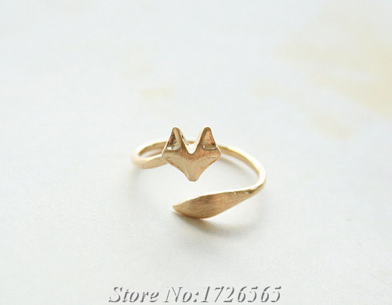 2017 New Style Punk Cute Tiny Fox Wrap Ring Boho Chic Brass Knuckle Animal Rings For Women Men Best Friend Gift Fashion Jewelry