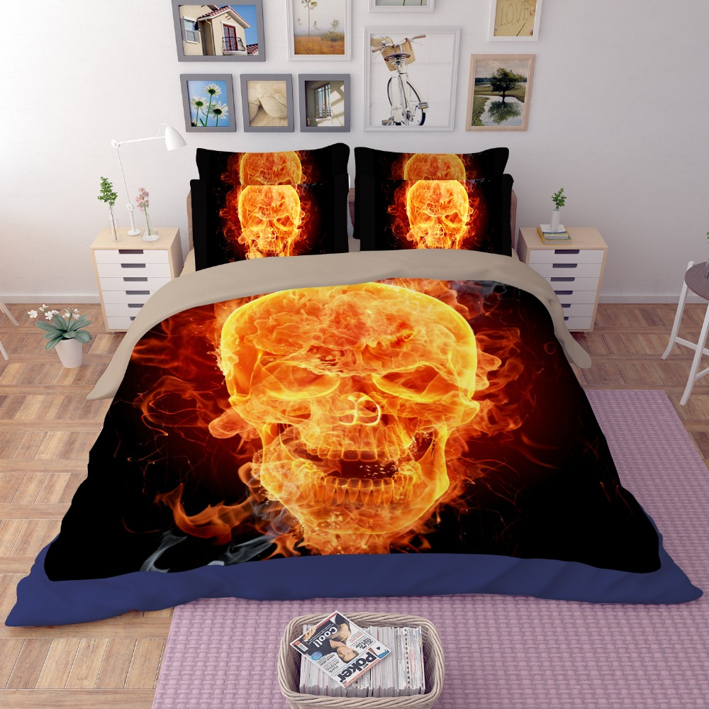 2017 3D Bone Flame Skull Death Head Design Bedding Set 120cm 4 feet 150cm 5 feet