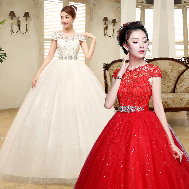 Cheap Wedding Gowns With Sleeves: Free Shipping Red Wedding Dress 2019 White Plus Size Lace