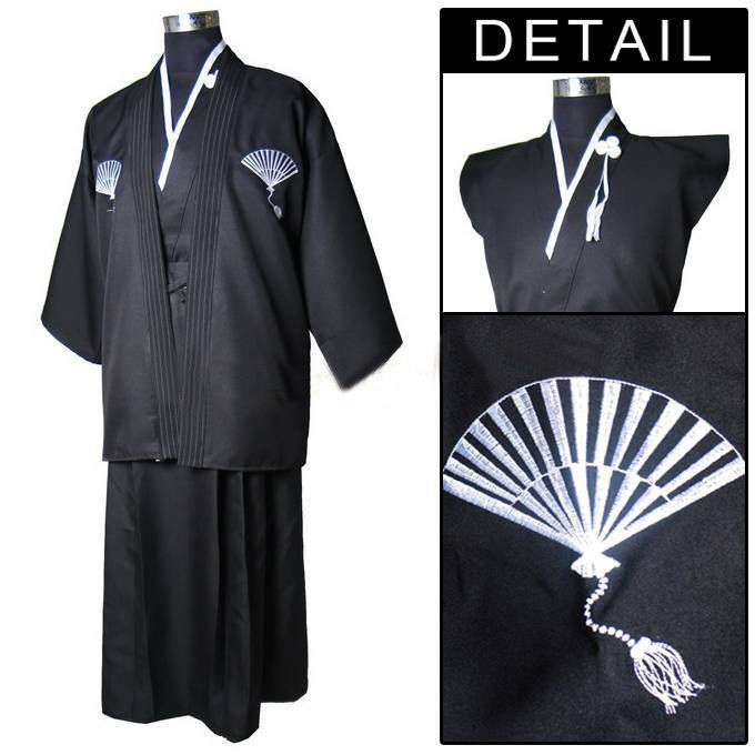 e9298b6a996 Free shipping Yukata obi Black Vintage Japanese Men s Kimono Warrior Yukata  Haori Dress One size traditional japanese Kimono